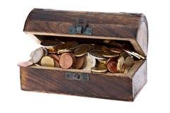 Schatzkasten gefüllt mit Euro-Münzen Lizenzfreie Stockfotografie