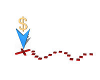Schatzkennzeichen mit goldenem Zeichen des Dollars 3f Stockfotografie