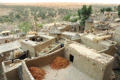 Schauen über einem Dogon Dorf Stockfoto