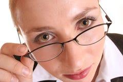 Schauen über Gläsern Stockbild