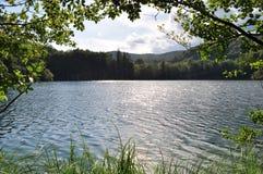 Schauen durch Bäume in entspannenden See und in Bergblick Lizenzfreies Stockbild