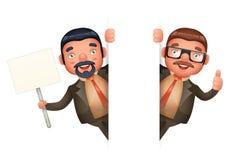 Schauen Sie heraus nette Zeichentrickfilm-Figur-Design-lokalisierte Vektor-Eckillustration Geschäftsmann-Man 3d realistische Lizenzfreies Stockbild