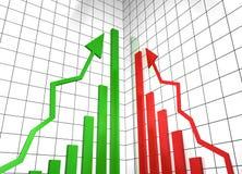 Schauen Sie oben Erfolgsdiagramme mit Pfeilen Stockbild