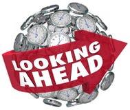 Schauen voran von Stempeluhr-Voraussagen-Vorhersagen-Zukunft Stockfotos