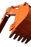 Schaufel der ausgrabenmaschine des Gebäudes der orange Farbe Stockfoto