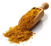 Schaufel des Curry-Pulvers stockfotos