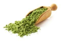 Schaufel des grünen matcha Teepulvers Stockbilder