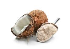 Schaufel mit Kokosnussmehl und -nuß lizenzfreie stockbilder