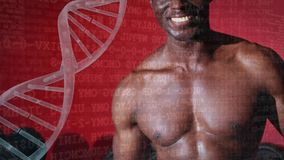Schaufelnder Proteindrink des Athleten stock video