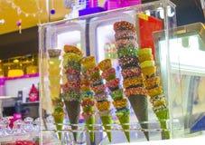 Schaukasten mit Hörnern für Eiscreme lizenzfreies stockbild