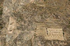 Schaukeln Sie das Gesicht von Inca God, geschnitzt im Berg Lizenzfreie Stockfotos