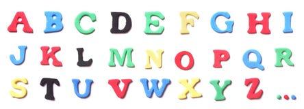 Schaumgummi beschriftet Alphabet stockfotos