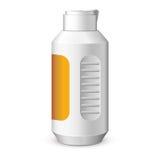 Schaumgummi-Plastikflaschen-Weiß mit Aufkleber stock abbildung