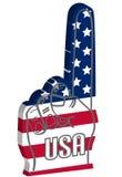 Schaumgummifinger mit USA-amerikanischer Flagge Stockfotos