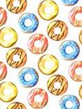 Schaumgummiring-nahtloses Muster Hand gezeichnete Aquarellbleistifte Lizenzfreies Stockfoto