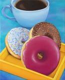 Schaumgummiring- und Kaffeetassefrühstück, ursprüngliches Ölgemälde des Stilllebens auf Segeltuch lizenzfreies stockbild