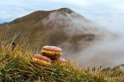 Schaumgummiringe mit Bergen im Hintergrund Lizenzfreie Stockbilder