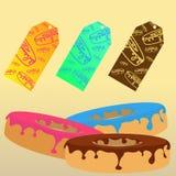 Schaumgummiringe mit gebrauchsfertigen Aufklebern für Verkauf Stockbild