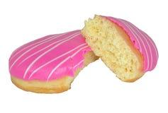 Schaumgummiringe mit rosa Zuckerglasur Stockfotos