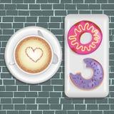 Schaumgummiringe und Kaffee stock abbildung