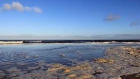 Schaumig von der Seeblase auf baltischer Küsten-Farbe der Natur lizenzfreie stockfotografie