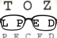 Schauspiele auf einem Augendiagramm lizenzfreie stockfotos