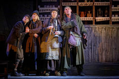 Schauspieler auf Stufe von Taganka Theater während der Leistung Lizenzfreies Stockfoto