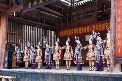 Schauspieler in Dong Culture Show in Chengyang Lizenzfreie Stockfotografie