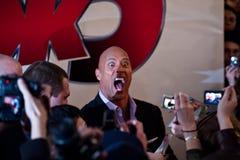 Schauspieler Dwayne (der Felsen) Johnson in Moskau Stockfotografie