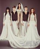 Schauspieler im Hochzeitskleid schauen deprimierend Lizenzfreie Stockfotografie