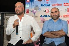 Schauspieler Marco d'Amore und Francesco Ghiaccio Lizenzfreies Stockfoto