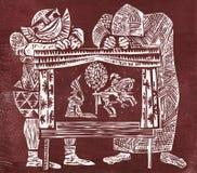 Schauspieler und Marionetten woodcut Stockbild
