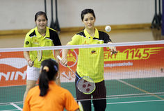 """Schauspielerin """"Ritchey"""" Oranes Deekabales von Khu Kam nehmen an dem Pressekonferenz Badminton CU öffnen 2013 teil Stockfotos"""
