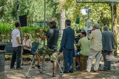 Schauspielerin Sharon Stone in Rom, Italien, während der Schmierfilmbildung des Pupi Avati-Film ` ein Junge von Gold-` am 22. Jul stockbild