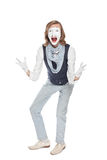 Schauspielerpantomime zeigt ungezügelte Freude lizenzfreies stockfoto