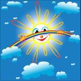 Schaut heraus über dem Regenbogen Lizenzfreies Stockbild