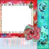 Schäbiges Blumenfoto-Feld oder Scrapbooking Hintergrund Stockbilder
