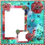 Schäbiges Blumenfoto-Feld/Scrapbooking Hintergrund Stockbilder
