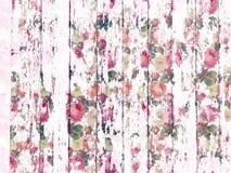 Schäbiges Holzkornbeschaffenheitsweiß wusch sich mit beunruhigtem Rosenmuster Stockfoto