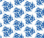 Schäbiges schickes nahtloses Muster der Weinlese mit blauen Blumen und Blättern Vektor Lizenzfreie Stockbilder