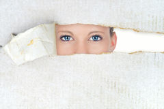 Schüchterne Frau, versteckte Schönheit Lizenzfreies Stockbild