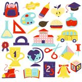 Schcool Accessories Symbols Icons Set. School symbols accessories flat icons set with schoolbus schoolbooks scissors geometrical figures schoolbag bell isolated Royalty Free Stock Photography