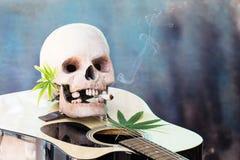 Schädel auf Gitarre und grünem Hanf-Blatt Stockbild