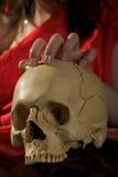 Schädel und Hand Stockbild