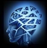 Schädigendes menschliches Gehirn Stockfotos
