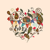 Scheda adorabile sveglia del cuore del biglietto di S. Valentino Immagine Stock