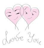 Scheda & amore di giorno del `s del biglietto di S. Valentino. Coppie dei cuori del fumetto Immagini Stock