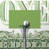Scheda, anello, griglia e sfera di pallacanestro del dollaro Fotografie Stock Libere da Diritti