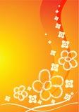 Scheda arancione con i fiori Fotografia Stock