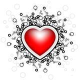 Scheda astratta con i rotoli, figura del cuore, cerchi - vec del biglietto di S. Valentino illustrazione vettoriale